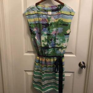 Silk dress, watercolor print